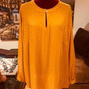 LOFT- Mustard Colored Long Sleeve Blouse